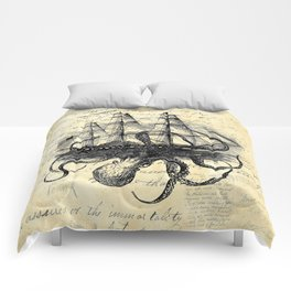 Kraken Octopus Attacking Ship Multi Collage Background Comforters