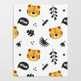 Cute Baby Lion Roar Poster
