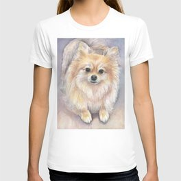 Pomeranian Watercolor Pom Puppy Dog Painting T-shirt