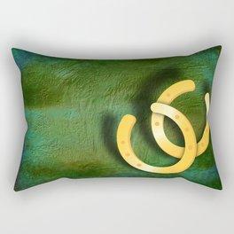 Lucky horseshoes on a textured green background Rectangular Pillow
