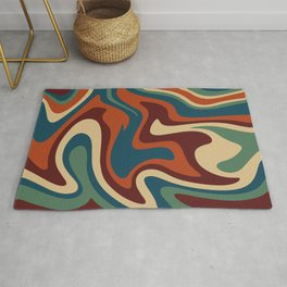 Mid Century Modern Liquid Abstract // 70s Hippie Colors // Muted Red, Green, Blue, Burgundy, Wheat Rug