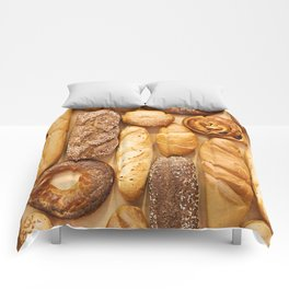 Bread baking rolls and croissants background Comforters
