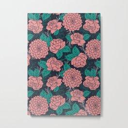 Floral Pattern in Pink and Teal Metal Print