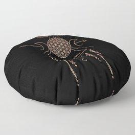 Mandala Flower of Life Rose Gold Pink Floor Pillow