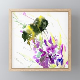 Bumblebee and Flowers floral bee design Framed Mini Art Print