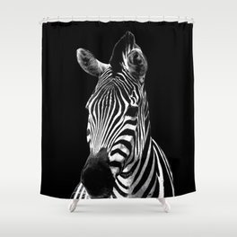 Zebra Black Shower Curtain