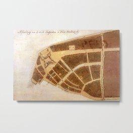 Vintage Map of New Amsterdam (1660) 2 Metal Print