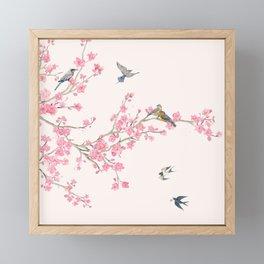 Birds and cherry blossoms Framed Mini Art Print