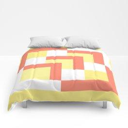 Squares Yellow + Salmon Comforters