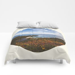 Autumn Forest Meets Ocean Comforters