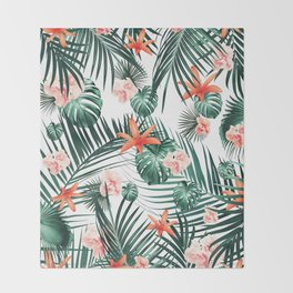 Tropical Flowers & Leaves Paradise #2 #tropical #decor #art #society6 Throw Blanket