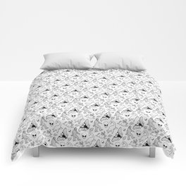 Cryptid Lineart Pattern 2 (White) Comforters
