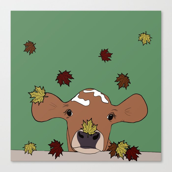 Bessie the Calf and Fall Leaves Canvas Print