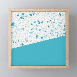 Terrazzo Texture Pacific Light Blue #5 Framed Mini Art Print