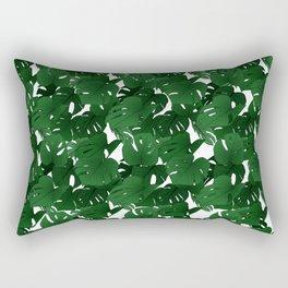 Monstera (Jungle) - Emerald x White Rectangular Pillow