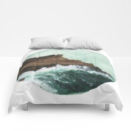 Crashing Waves on a cliff Comforters