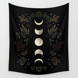 Moonlight Garden - Olive Green Wall Tapestry