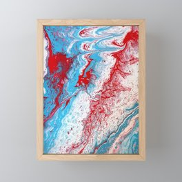 Marble Red Blue Paint Splatter Abstract Painting by Jodilynpaintings Red Framed Mini Art Print