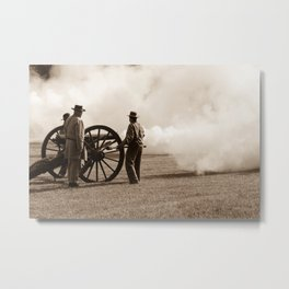 Civil War Era Cannon Firing Metal Print