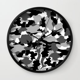 black and white Background Pattern Camo Wall Clock