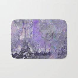 Purple Paris Watercolor Art Bath Mat