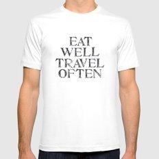 Eat well, Travel often MEDIUM White Mens Fitted Tee