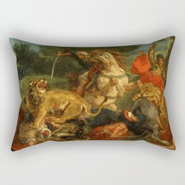 "Eugène Delacroix ""Lion Hunt"" (1855) Rectangular Pillow"