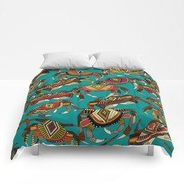 crabs teal Comforters