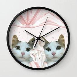 kitten.   pink, cats, pattern, children, pet, feline, animals, Society6. Wall Clock