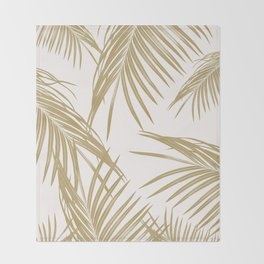 Gold Palm Leaves Dream #1 #tropical #decor #art #society6 Throw Blanket