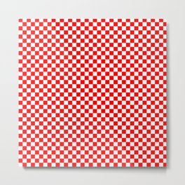Large Australian Flag Red and White Check Checkerboard Metal Print