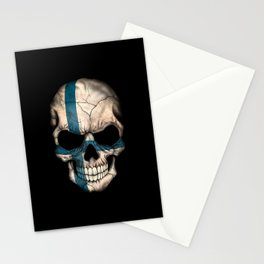 Dark Skull with Flag of Finland Stationery Cards