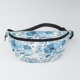 Flower bouquet with poppies - blue Fanny Pack