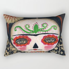 Frida The Catrina And The Skull - Dia De Los Muertos Mixed Media Art Rectangular Pillow