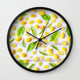 Fruits and leaves pattern (22) Wall Clock