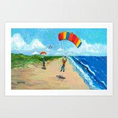 Skydive Beach Landing Art Print