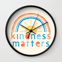 Kindness Matters. Typography Design with Rainbow Wall Clock