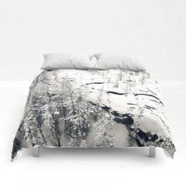 Snow on Textures of Pine Trees and Cliffs Comforters