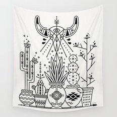 Santa Fe Garden – Black Ink Wall Tapestry