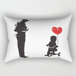 Banksy Policeman & girl on bike, Streetart Street Art, Grafitti, Artwork, Design For Men, Women, Kid Rectangular Pillow