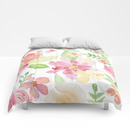 Pastel watercolors delicate flowers pattern Comforters