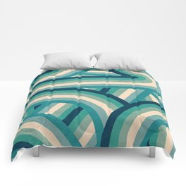 Teal Vintage Faded 70's Style Rainbow Stripes Comforters