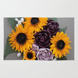 Sunflowers Roses Paper Quilled Flowers Rug