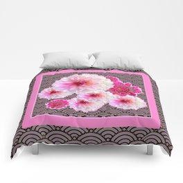 GREY & PINK PATTERNED FUCHSIA CERISE-WHITE DAHLIAS Comforters