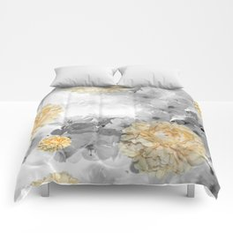 CHERRY BLOSSOMS AND YELLOW ROSES Comforters