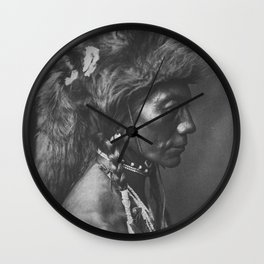 Native American Piegan Warrior, Yellow Kidney, portrait black and white photography Wall Clock