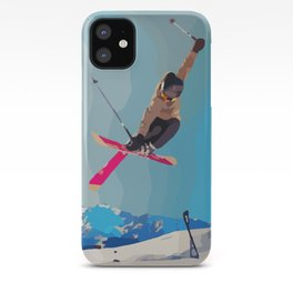 Man jumps with skies on piste with mountains and sky background iPhone Case