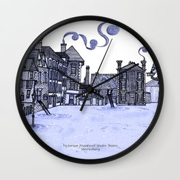 Victorian Frankwell Under Water, blue Wall Clock