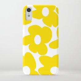Large Yellow Retro Flowers on White Background #decor #society6 #buyart iPhone Case
