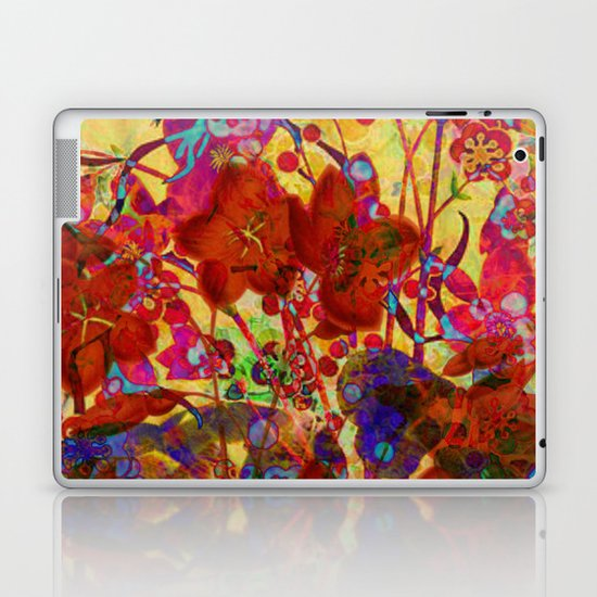 floral on yellow Laptop & iPad Skin